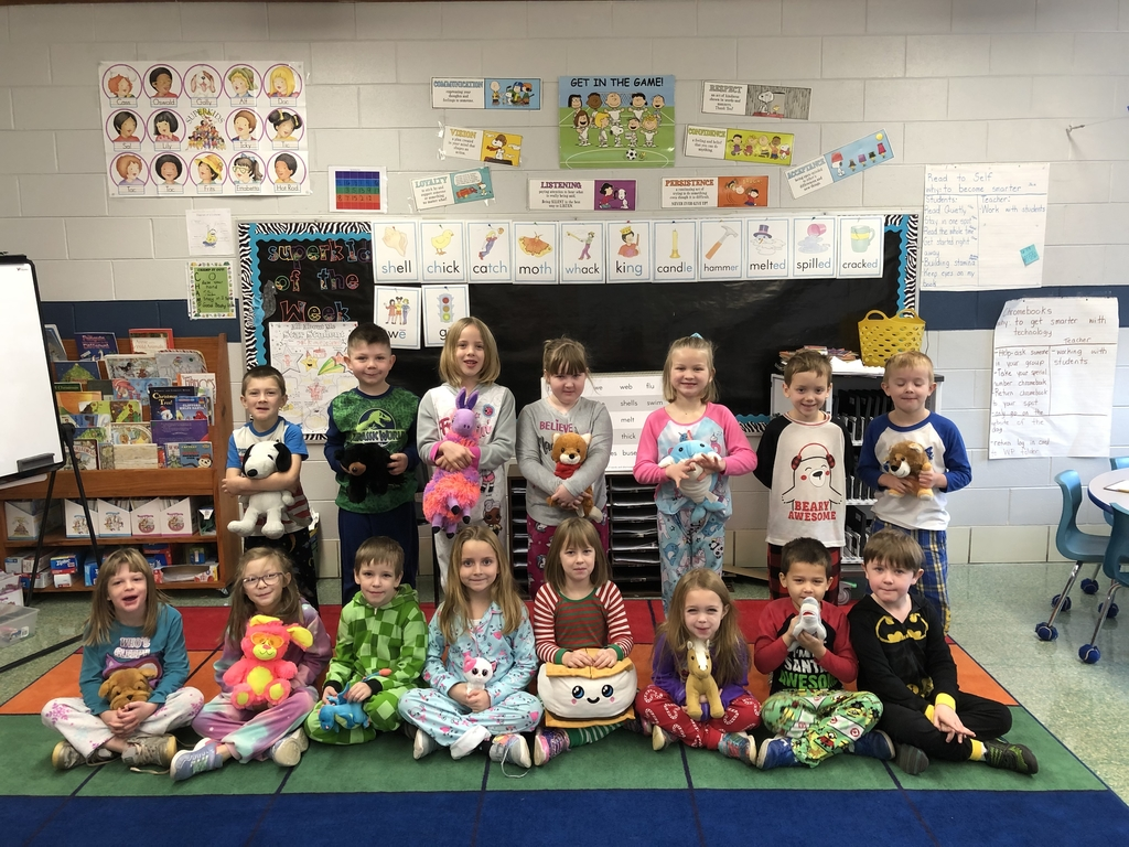 Mrs.Brown's First Grade class earned a pajama and stuffed animal day.